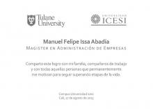 Tarjeta Grado Manuel Issa